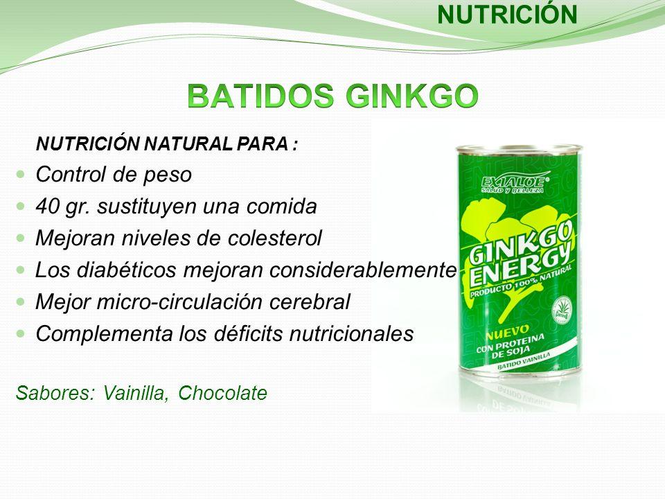 NUTRICIÓN NUTRICIÓN NATURAL PARA : Control de peso 40 gr. sustituyen una comida Mejoran niveles de colesterol Los diabéticos mejoran considerablemente