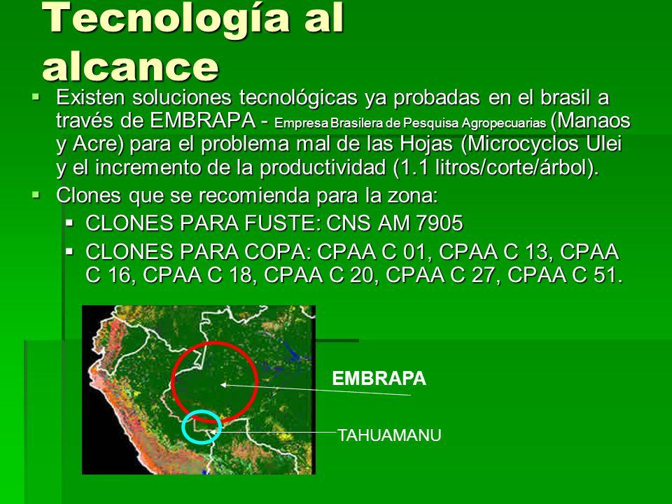 Tecnología al alcance Existen soluciones tecnológicas ya probadas en el brasil a través de EMBRAPA - Empresa Brasilera de Pesquisa Agropecuarias (Mana