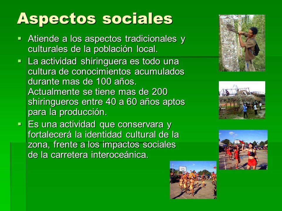 Aspectos sociales Atiende a los aspectos tradicionales y culturales de la población local. Atiende a los aspectos tradicionales y culturales de la pob