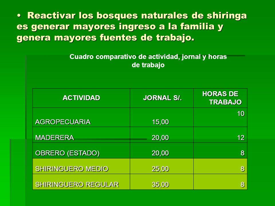 Reactivar los bosques naturales de shiringa es generar mayores ingreso a la familia y genera mayores fuentes de trabajo. Reactivar los bosques natural