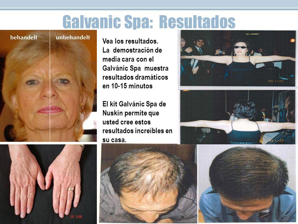 Galvanic Spa: Resultados Vea los resultados. La demostración de media cara con el Galvánic Spa muestra resultados dramáticos en 10-15 minutos El kit G
