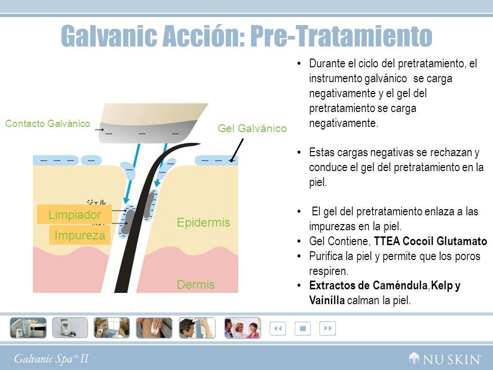 Contacto Galvánico Gel Galvánico Epidermis Dermis Impureza Limpiador Galvanic Acción: Pre-Tratamiento Durante el ciclo del pretratamiento, el instrume