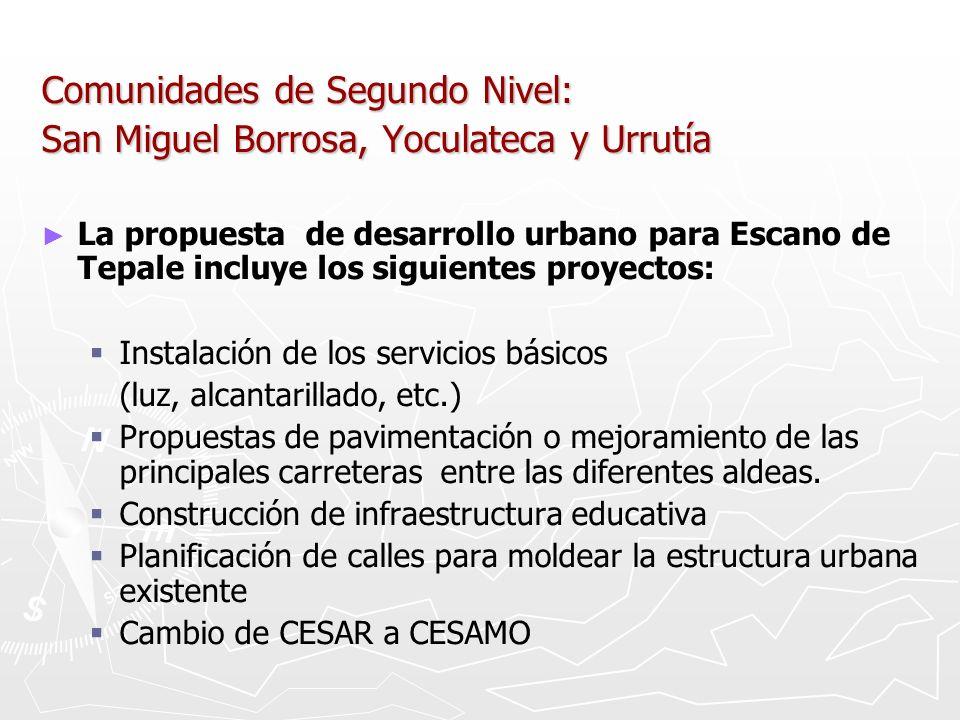 Comunidades de Segundo Nivel: San Miguel Borrosa, Yoculateca y Urrutía La propuesta de desarrollo urbano para Escano de Tepale incluye los siguientes