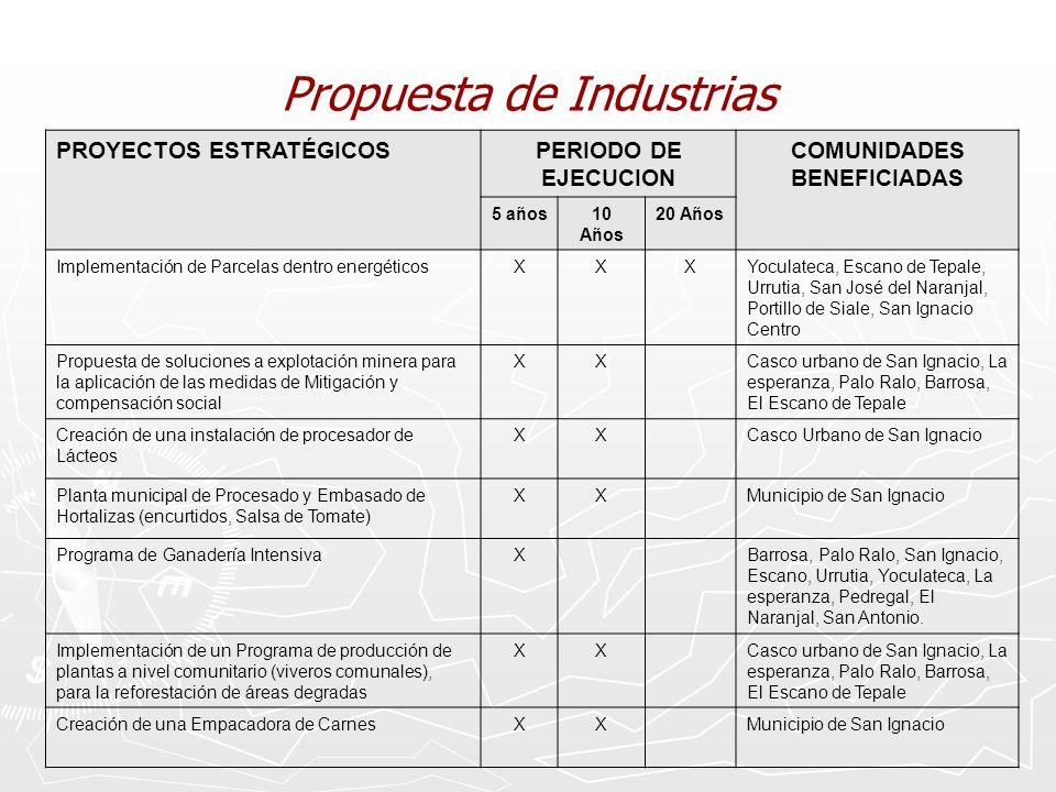 Propuesta de Industrias PROYECTOS ESTRATÉGICOSPERIODO DE EJECUCION COMUNIDADES BENEFICIADAS 5 años10 Años 20 Años Implementación de Parcelas dentro en