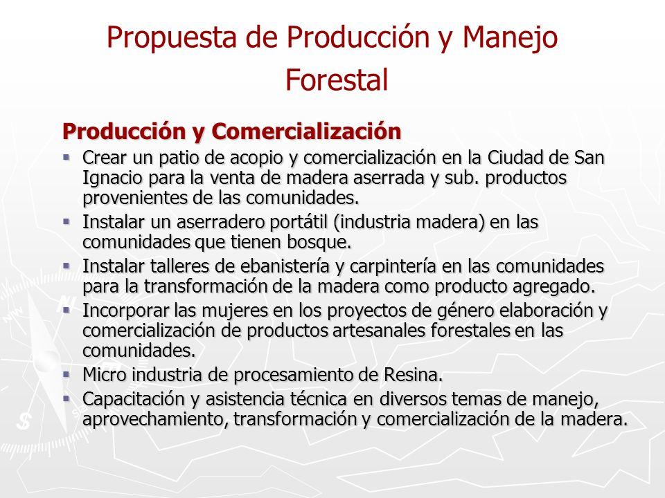 Propuesta de Producción y Manejo Forestal Producción y Comercialización Crear un patio de acopio y comercialización en la Ciudad de San Ignacio para la venta de madera aserrada y sub.