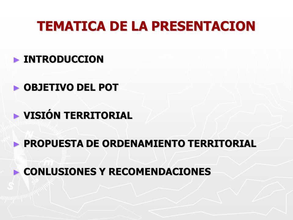 INTRODUCCION INTRODUCCION OBJETIVO DEL POT OBJETIVO DEL POT VISIÓN TERRITORIAL VISIÓN TERRITORIAL PROPUESTA DE ORDENAMIENTO TERRITORIAL PROPUESTA DE ORDENAMIENTO TERRITORIAL CONLUSIONES Y RECOMENDACIONES CONLUSIONES Y RECOMENDACIONES TEMATICA DE LA PRESENTACION