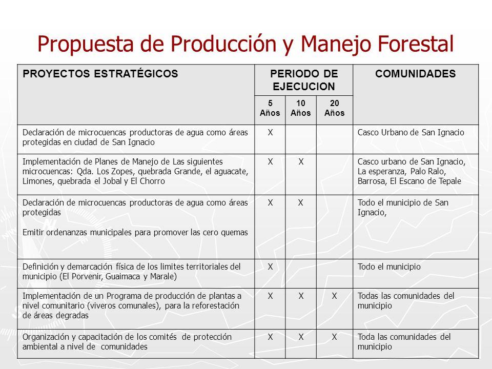 Propuesta de Producción y Manejo Forestal PROYECTOS ESTRATÉGICOSPERIODO DE EJECUCION COMUNIDADES 5 Años 10 Años 20 Años Declaración de microcuencas pr