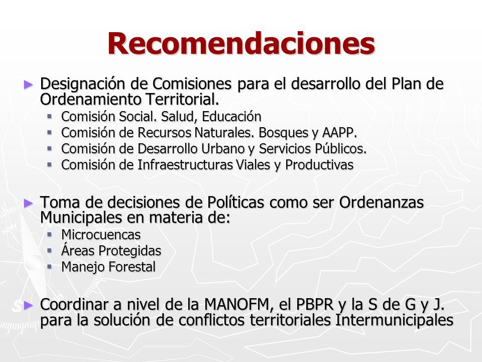 Recomendaciones Designación de Comisiones para el desarrollo del Plan de Ordenamiento Territorial. Designación de Comisiones para el desarrollo del Pl