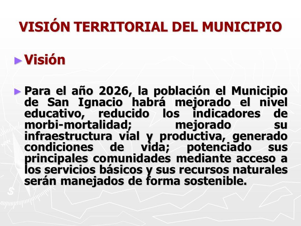 VISIÓN TERRITORIAL DEL MUNICIPIO Visión Visión Para el año 2026, la población el Municipio de San Ignacio habrá mejorado el nivel educativo, reducido