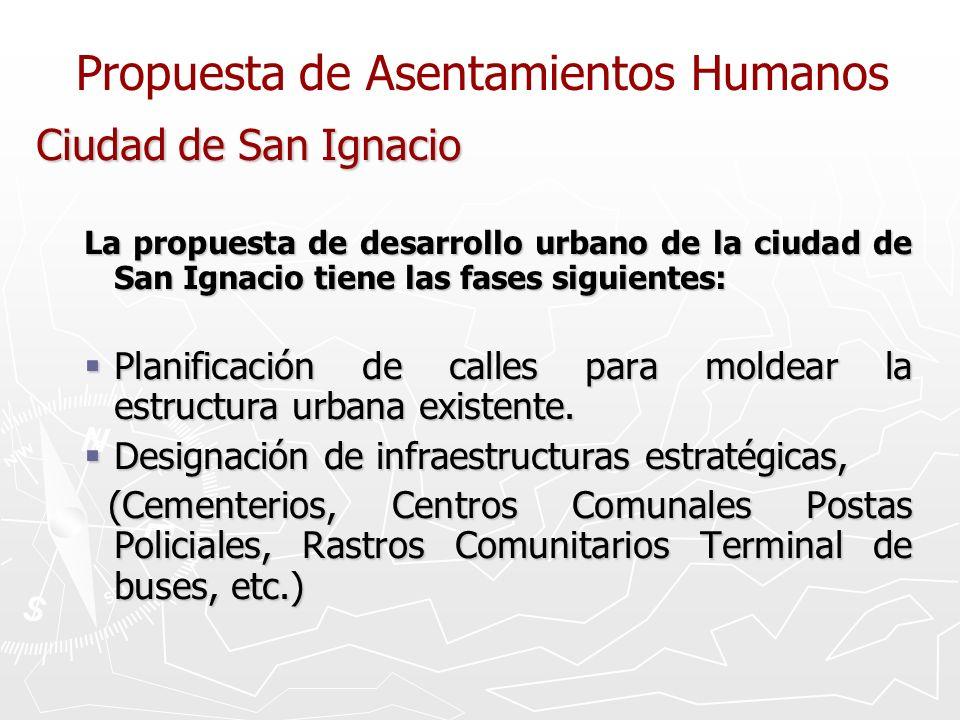 Propuesta de Asentamientos Humanos Ciudad de San Ignacio La propuesta de desarrollo urbano de la ciudad de San Ignacio tiene las fases siguientes: Pla