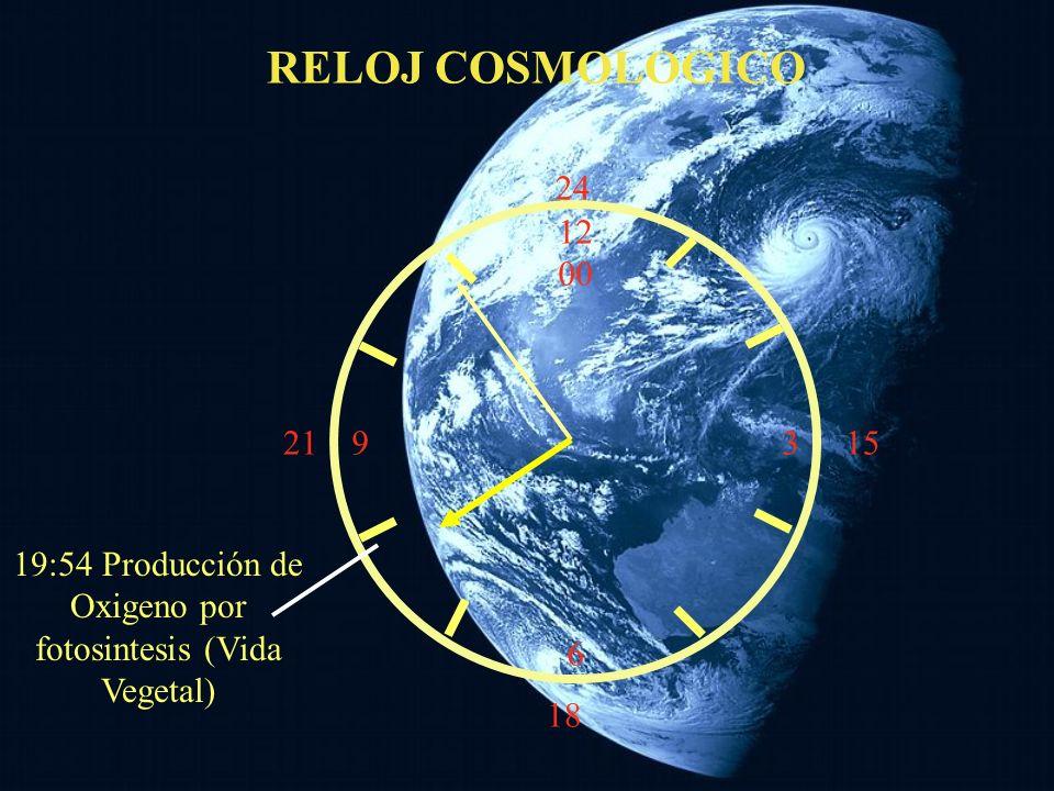 12 00 9 3 6 15 18 21 24 RELOJ COSMOLOGICO Las rocas más antiguas La lluvía meteórica pierde intensidad