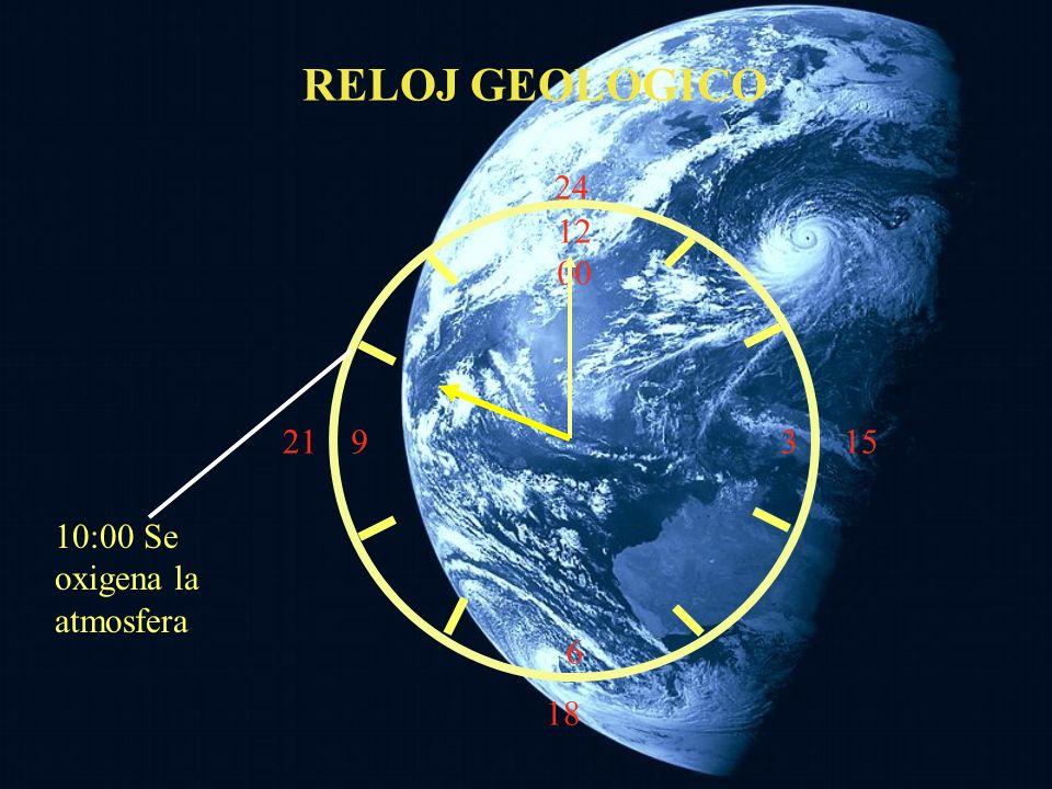 12 00 9 3 6 15 18 21 24 10:00 Se oxigena la atmosfera RELOJ GEOLOGICO