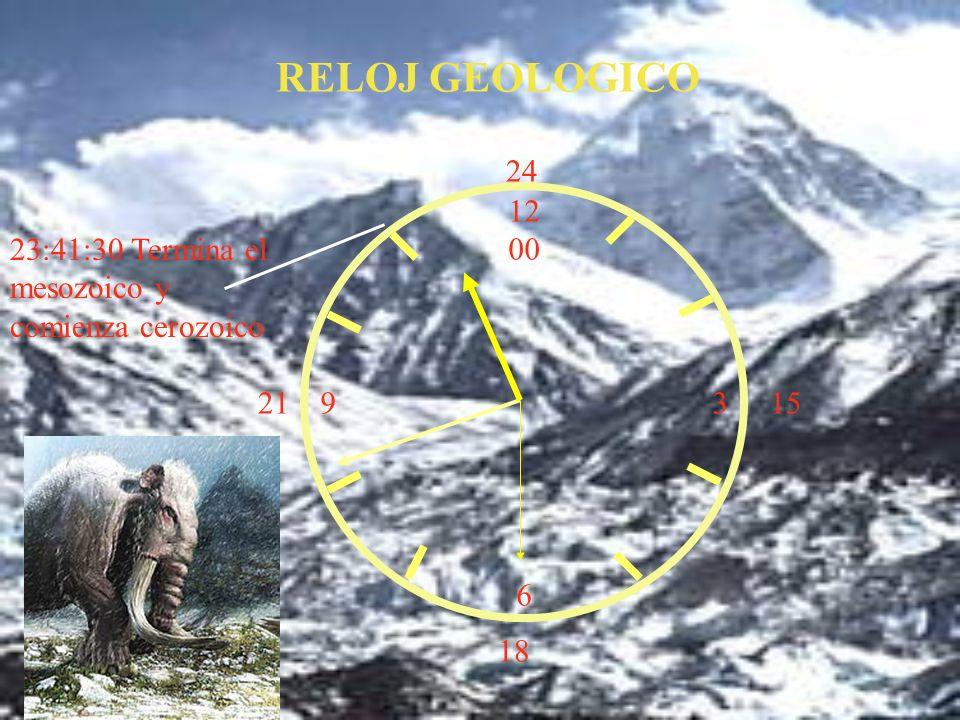 12 00 9 3 6 15 18 21 24 23:41:30 Termina el mesozoico y comienza cerozoico RELOJ GEOLOGICO