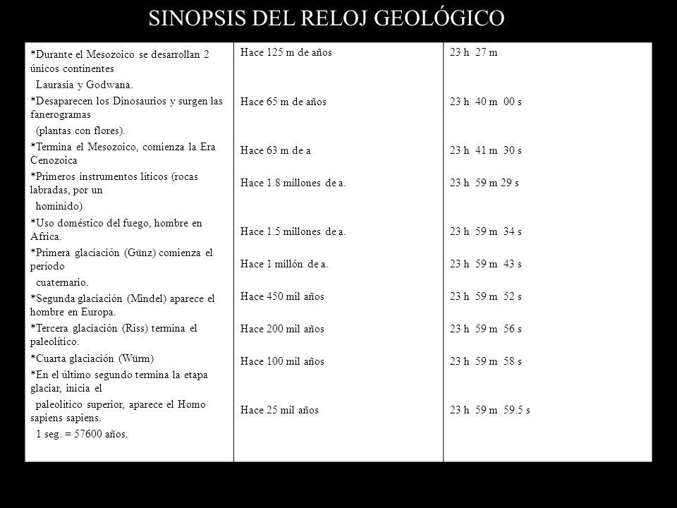 SINOPSIS DEL RELOJ GEOLÓGICO EVENTO *Formación de la tierra. *Cesa el bombardeo masivo de meteoritos *Inicia el periodo de enfriamiento de la corteza.