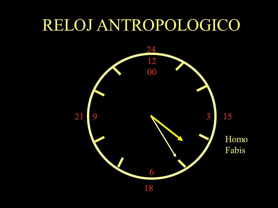 12 00 9 3 6 15 18 21 24 Homo Fabis RELOJ ANTROPOLOGICO