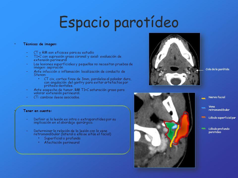 Espacio parotídeo Técnicas de imagen: –CT y RM son eficaces para su estudio –T1+C con supresión grasa coronal y axial: evaluación de extensión perineu