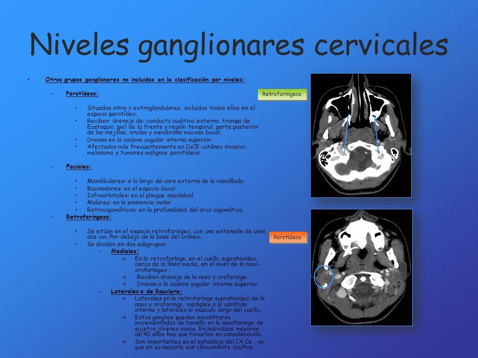 Niveles ganglionares cervicales Otros grupos ganglionares no incluidos en la clasificación por niveles: –Parotídeos: Situados intra o extraglandulares