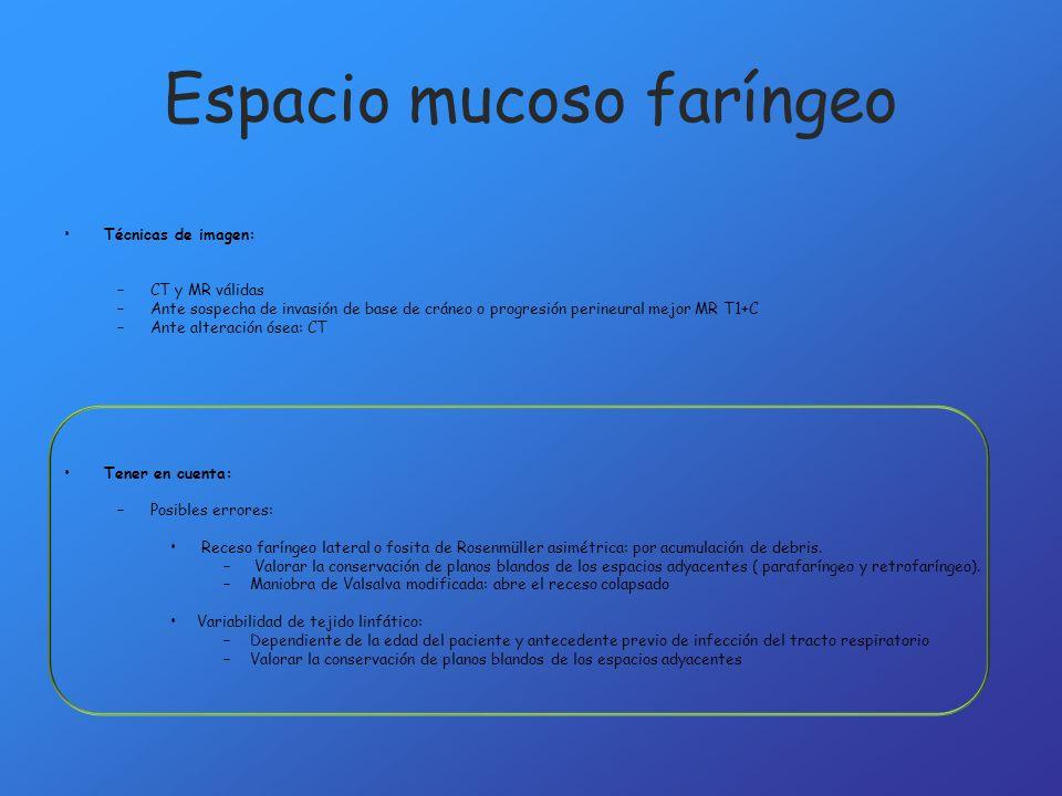Espacio parafaríngeo Espacio graso localizado en situación lateral del cuello suprahioideo, y que se encuentra rodeado de los espacios cervicales de mayor importancia: espacio mucosa faríngeo, masticador, parotídeo y carotideo.