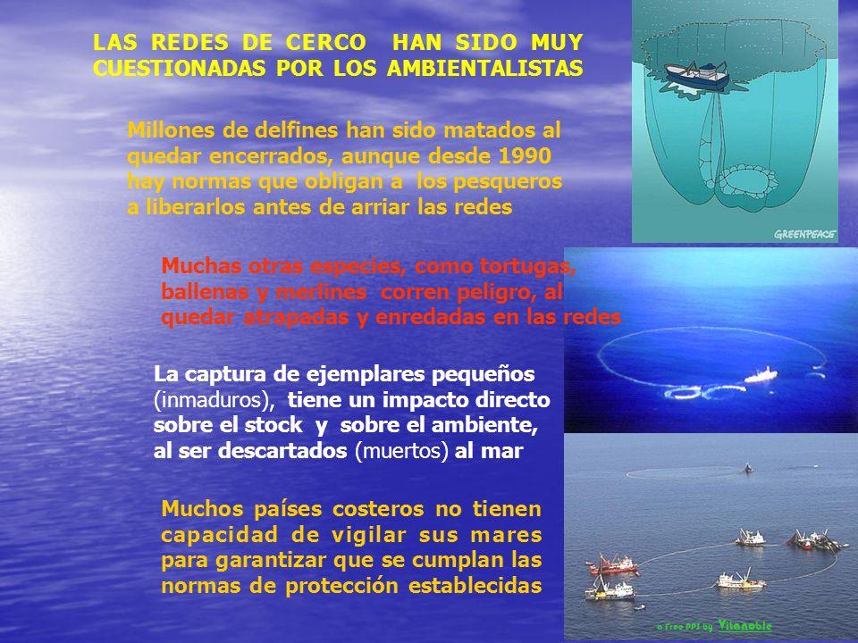 GRACIAS A LA ACCION DE LOS GRUPOS AMBIENTALISTAS SE HAN ESTABLECIDO MUCHAS ZONAS DE PROTECCION DE LAS ESPECIES MARINAS EN EL MUNDO PANAMÁ estableció en julio de 2004 el PARQUE NACIONAL COIBA y prohibió la pesca con redes de cerco en el Pacífico panameño al norte del paralelo 6º 30´ La red de cerco es un gigantesco aparejo para pescar cardúmenes completos incluyendo todo lo que caiga en la red Cuando el barco llega al lugar donde está un cardumen, se inicia la pesca, tirando al agua uno de los extremos de la red cuyos cabos quedan anclados a un bote auxiliar.