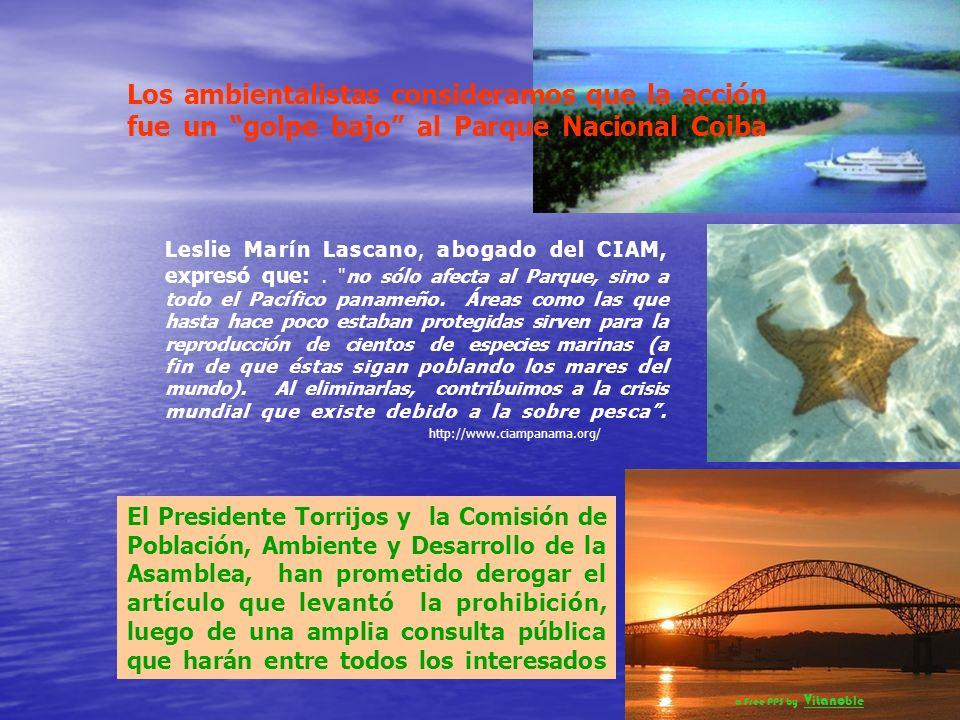 En Panamá, por un descuido presidencial, la Asamblea de Diputados derogó hace poco la prohibición de la pesca con redes de cerco al norte del paralelo 6º 30´ La reacción responsable de los grupos ambientalistas, no se hizo esperar….