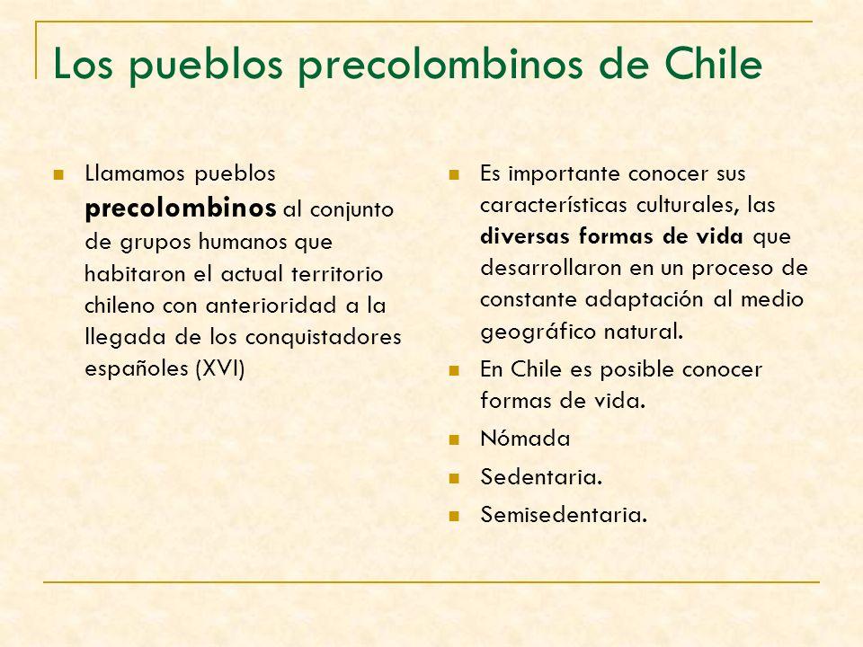 Llamamos pueblos precolombinos al conjunto de grupos humanos que habitaron el actual territorio chileno con anterioridad a la llegada de los conquista