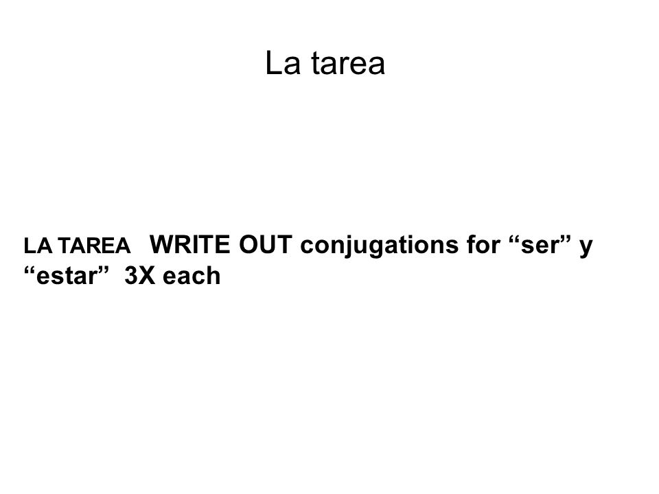 La tarea LA TAREA WRITE OUT conjugations for ser y estar 3X each