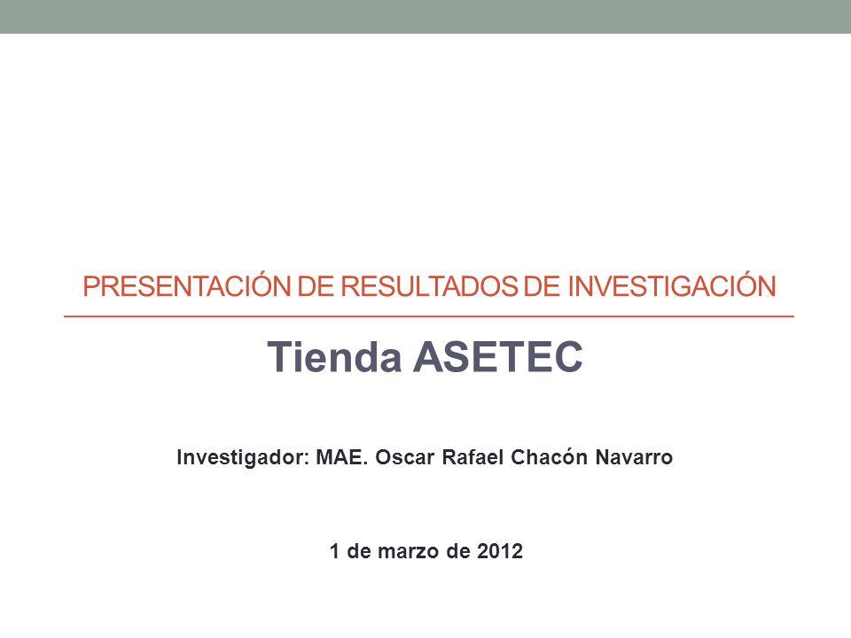 PRESENTACIÓN DE RESULTADOS DE INVESTIGACIÓN Tienda ASETEC Investigador: MAE.