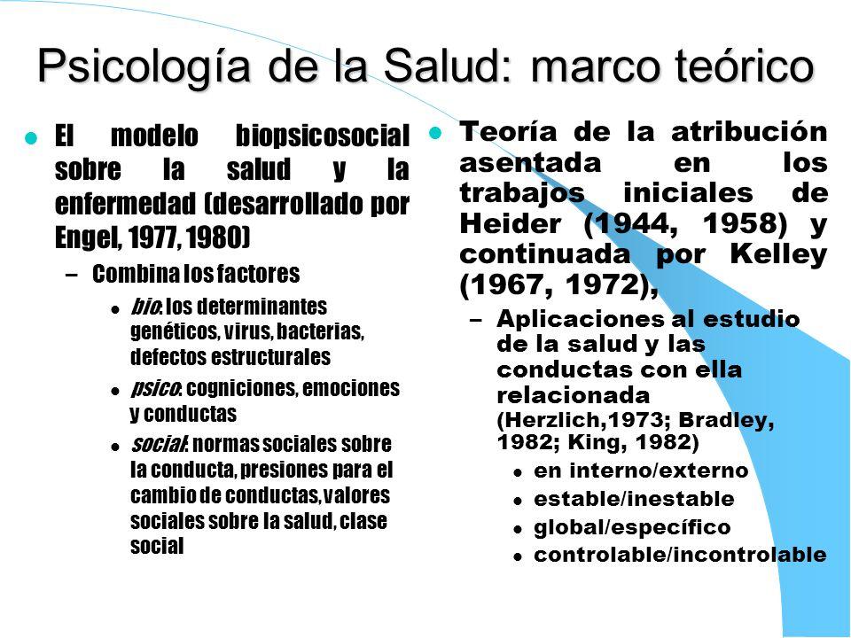 Psicología de la Salud: marco teórico l El modelo biopsicosocial sobre la salud y la enfermedad (desarrollado por Engel, 1977, 1980) –Combina los fact