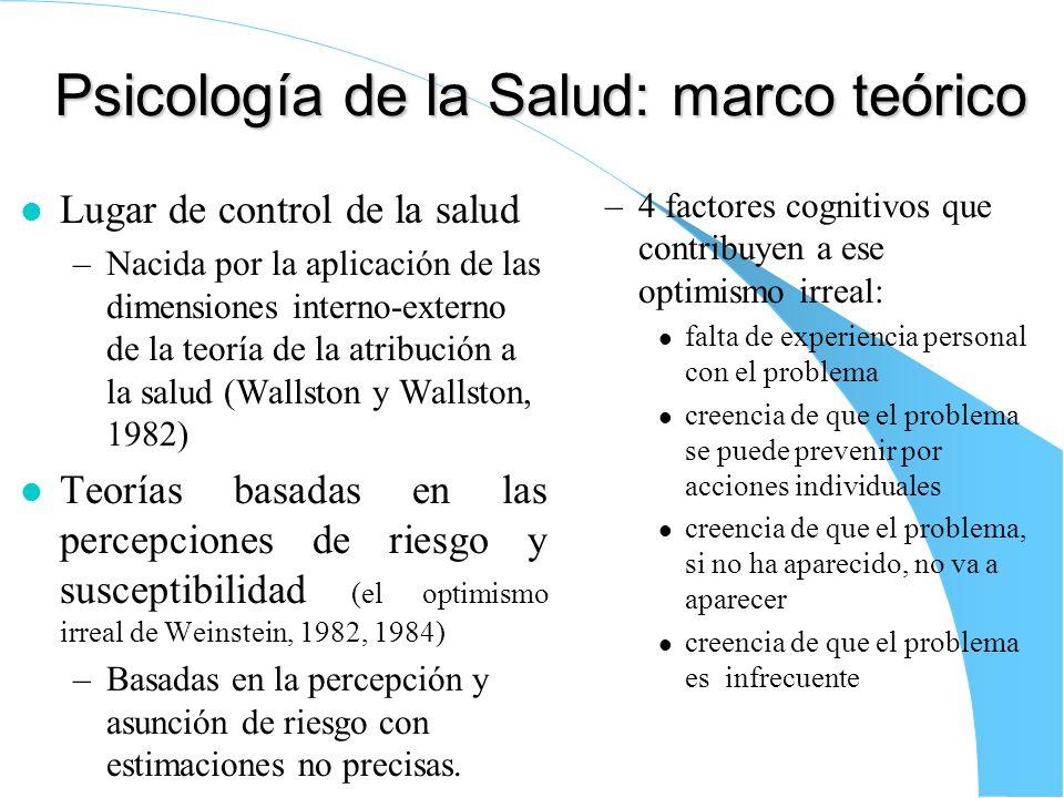 Psicología de la Salud: marco teórico l Lugar de control de la salud –Nacida por la aplicación de las dimensiones interno-externo de la teoría de la a
