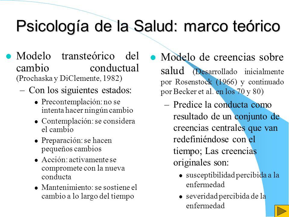 Psicología de la Salud: marco teórico l Modelo transteórico del cambio conductual (Prochaska y DiClemente, 1982) –Con los siguientes estados: l Precon