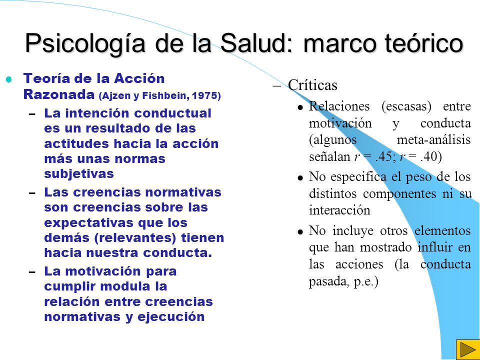 Psicología de la Salud: marco teórico l Teoría de la Acción Razonada (Ajzen y Fishbein, 1975) –La intención conductual es un resultado de las actitude
