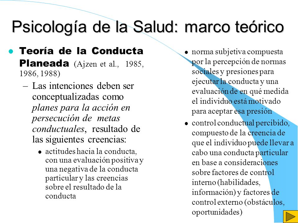 Psicología de la Salud: marco teórico Teoría de la Conducta Planeada (Ajzen et al., 1985, 1986, 1988) –Las intenciones deben ser conceptualizadas como
