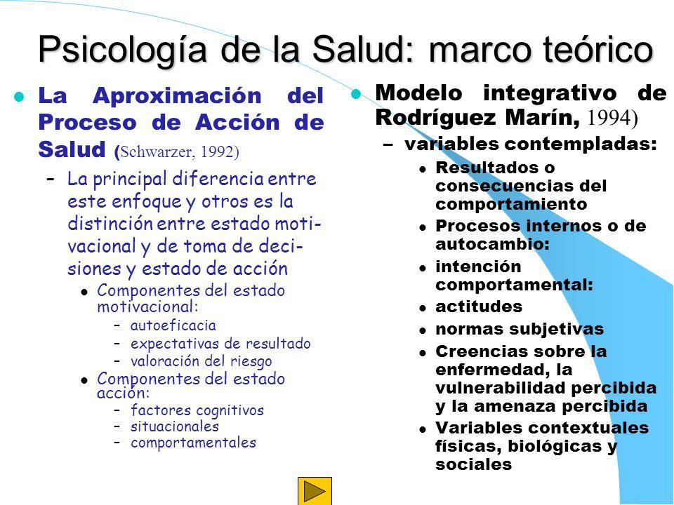Psicología de la Salud: marco teórico La Aproximación del Proceso de Acción de Salud ( Schwarzer, 1992) –La principal diferencia entre este enfoque y