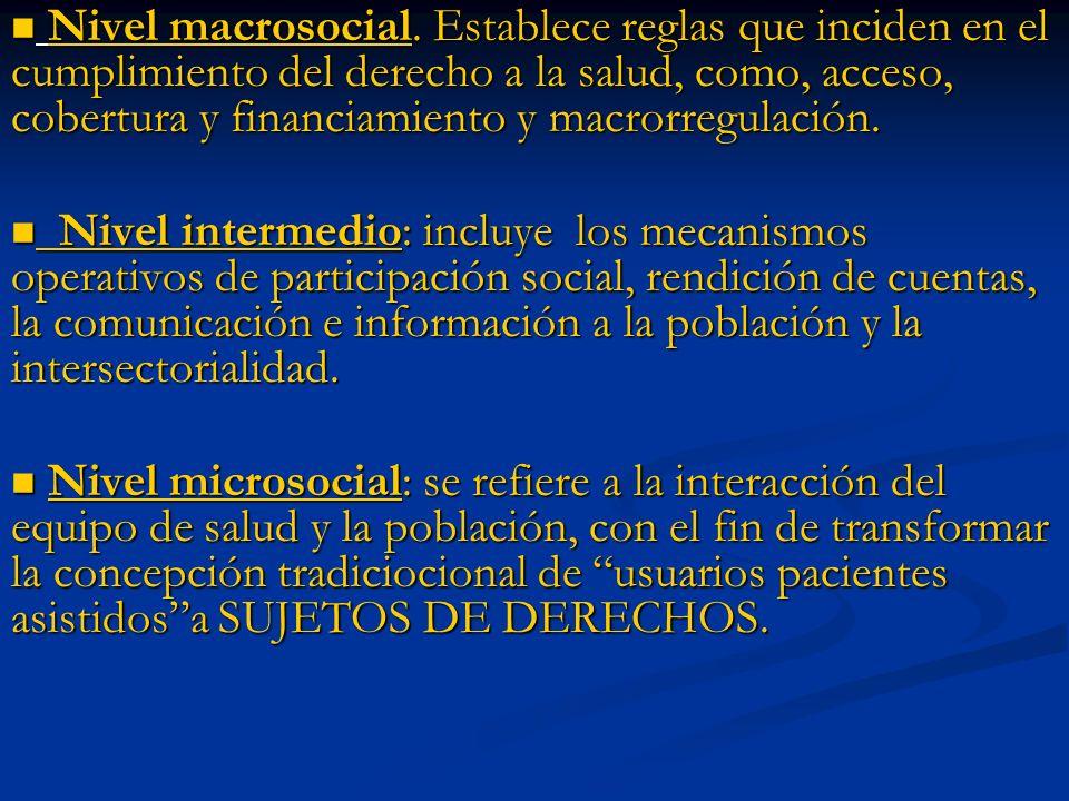 Nivel macrosocial. Establece reglas que inciden en el cumplimiento del derecho a la salud, como, acceso, cobertura y financiamiento y macrorregulación
