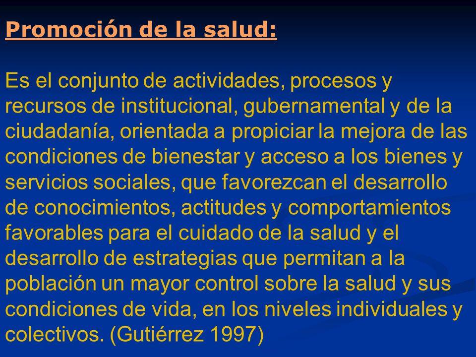 Promoción de la salud: Es el conjunto de actividades, procesos y recursos de institucional, gubernamental y de la ciudadanía, orientada a propiciar la