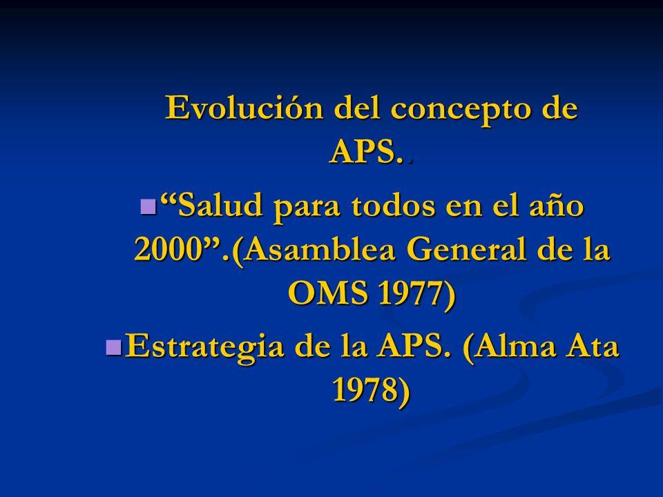 Evolución del concepto de APS.. Evolución del concepto de APS.. Salud para todos en el año 2000.(Asamblea General de la OMS 1977) Salud para todos en