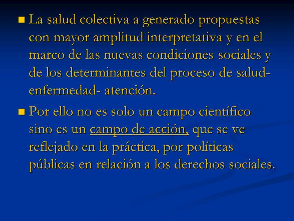 La salud colectiva a generado propuestas con mayor amplitud interpretativa y en el marco de las nuevas condiciones sociales y de los determinantes del