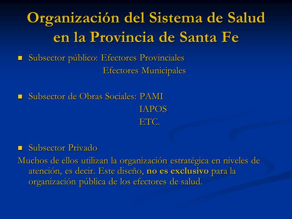 Organización del Sistema de Salud en la Provincia de Santa Fe Subsector público: Efectores Provinciales Subsector público: Efectores Provinciales Efec