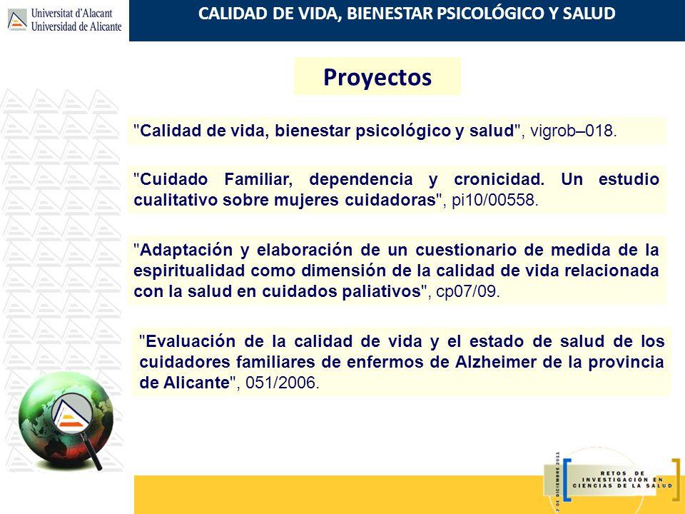 CALIDAD DE VIDA, BIENESTAR PSICOLÓGICO Y SALUD Proyectos
