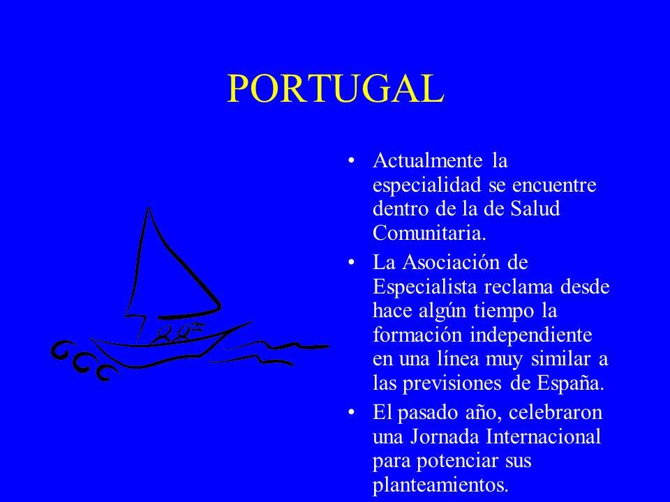 PORTUGAL Actualmente la especialidad se encuentre dentro de la de Salud Comunitaria. La Asociación de Especialista reclama desde hace algún tiempo la