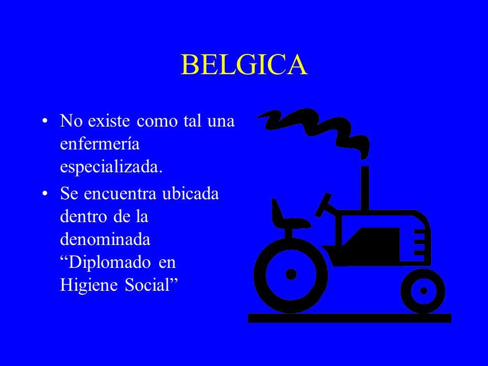 BELGICA No existe como tal una enfermería especializada. Se encuentra ubicada dentro de la denominada Diplomado en Higiene Social