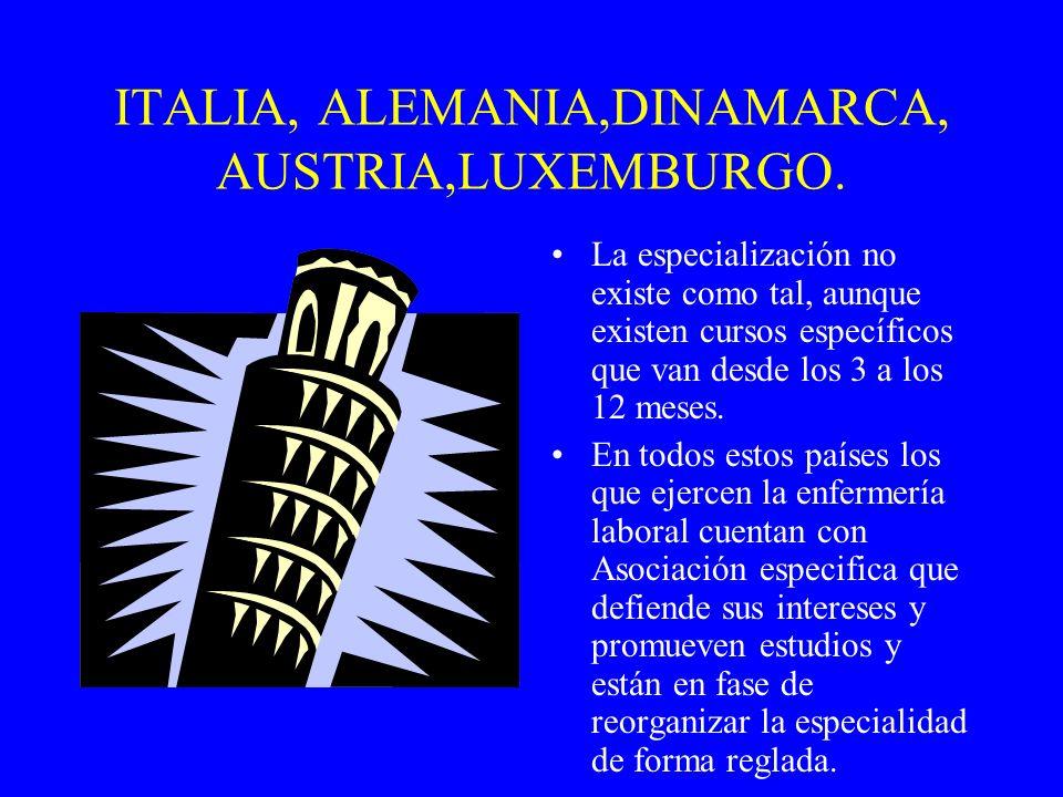 ITALIA, ALEMANIA,DINAMARCA, AUSTRIA,LUXEMBURGO. La especialización no existe como tal, aunque existen cursos específicos que van desde los 3 a los 12