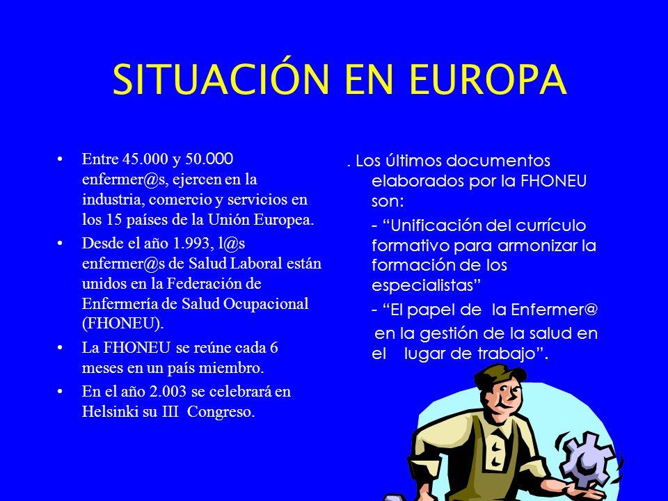 SITUACIÓN EN EUROPA Entre 45.000 y 50. 000 enfermer@s, ejercen en la industria, comercio y servicios en los 15 países de la Unión Europea. Desde el añ