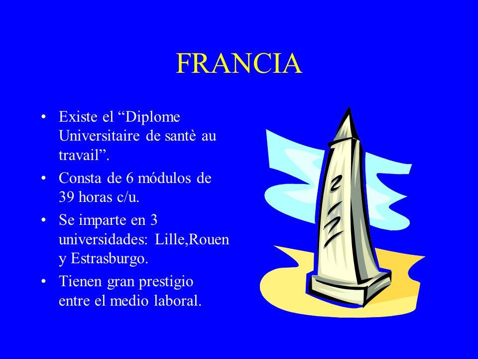 FRANCIA Existe el Diplome Universitaire de santè au travail. Consta de 6 módulos de 39 horas c/u. Se imparte en 3 universidades: Lille,Rouen y Estrasb