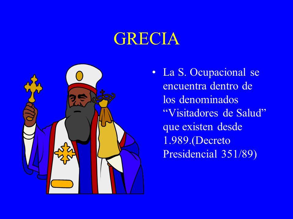 GRECIA La S. Ocupacional se encuentra dentro de los denominados Visitadores de Salud que existen desde 1.989.(Decreto Presidencial 351/89)
