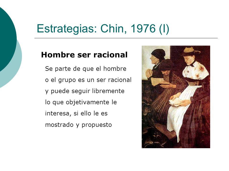 Estrategias: Chin, 1976 (I) Hombre ser racional Se parte de que el hombre o el grupo es un ser racional y puede seguir libremente lo que objetivamente le interesa, si ello le es mostrado y propuesto