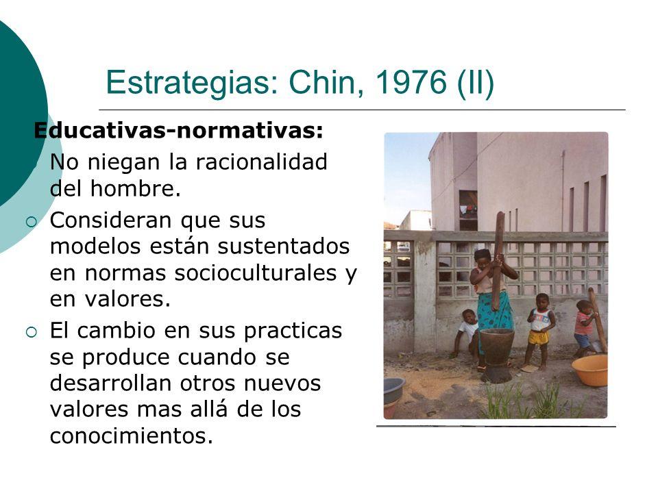 Estrategias: Chin, 1976 (II) Educativas-normativas: No niegan la racionalidad del hombre. Consideran que sus modelos están sustentados en normas socio