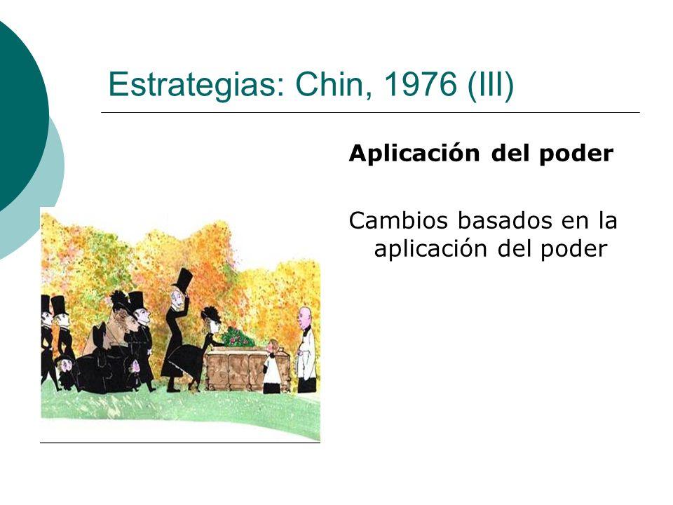 Estrategias: Chin, 1976 (III) Aplicación del poder Cambios basados en la aplicación del poder