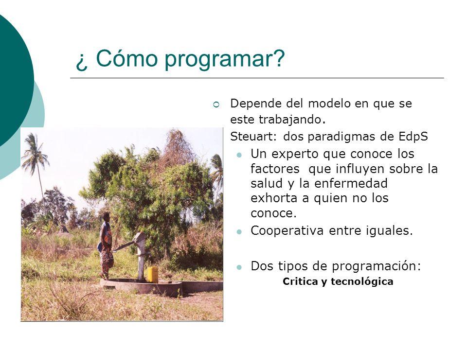¿ Cómo programar? Depende del modelo en que se este trabajando. Steuart: dos paradigmas de EdpS Un experto que conoce los factores que influyen sobre