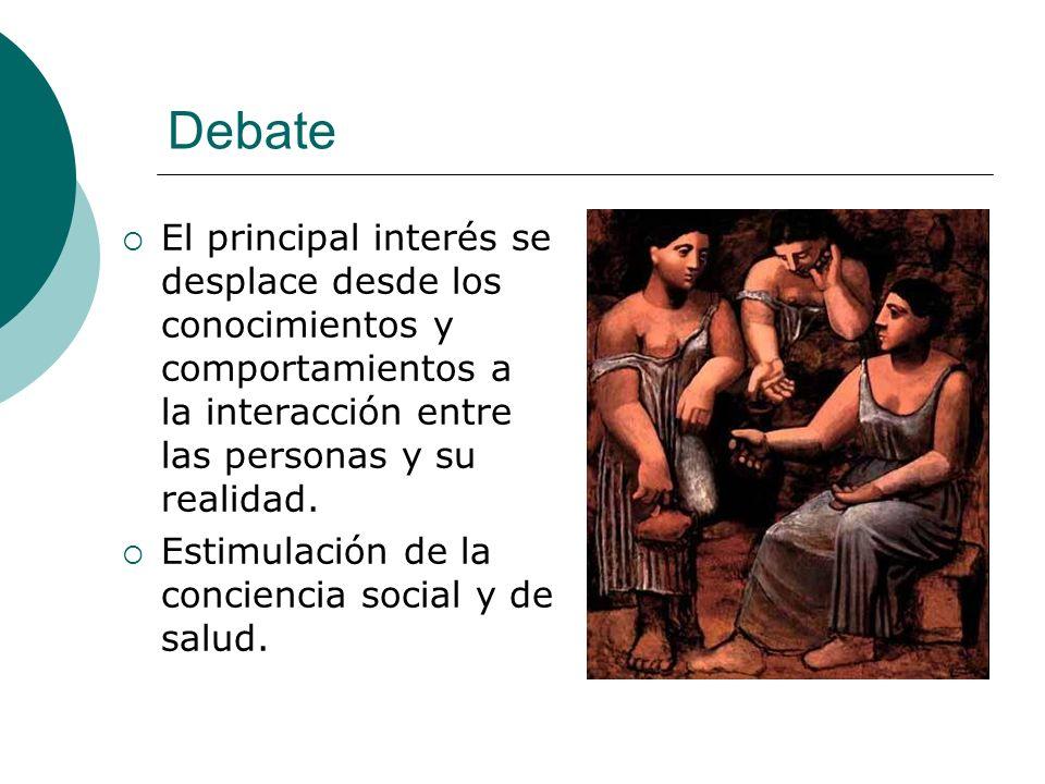 Debate El principal interés se desplace desde los conocimientos y comportamientos a la interacción entre las personas y su realidad.